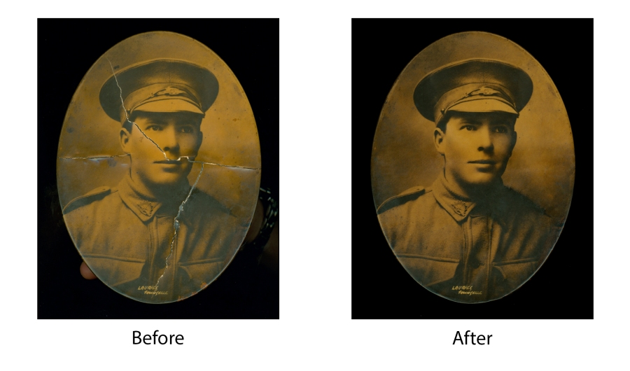 Before and After Tin Type Restoration